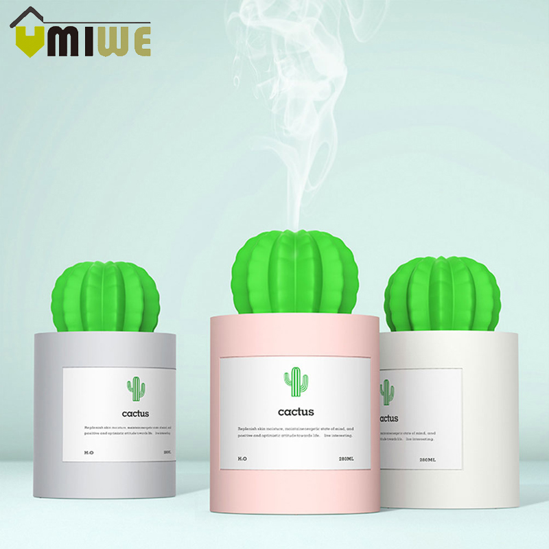 USB Cactus Air Humidifier Home Ultrasonic Humidifiers with Night Light 280ML Mist Maker Aromatherapy Aroma Diffuser Mist Maker