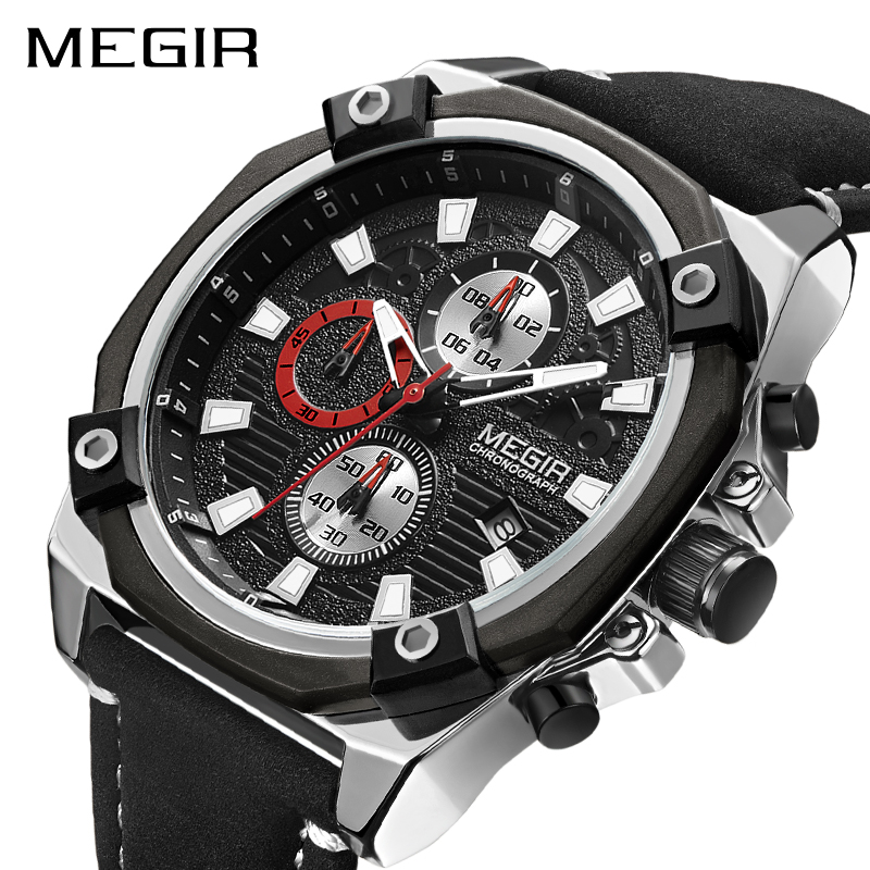 MEGIR Chronograph Men Sport Watch Fashion Leather Army Military Watches Relogio Masculino Quartz Wrist Watch Clock Men 2018 megir chronograph sport watch men luxury creative quartz wrist watches clock men relogio masculino 2065 army military wristwatch