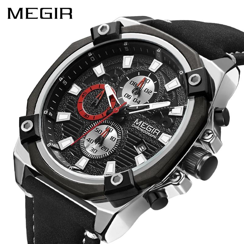 MEGIR Chronograph Men Sport Watch Fashion Leather Army Military Watches Relogio Masculino Quartz Wrist Watch Clock Men 2018 цена