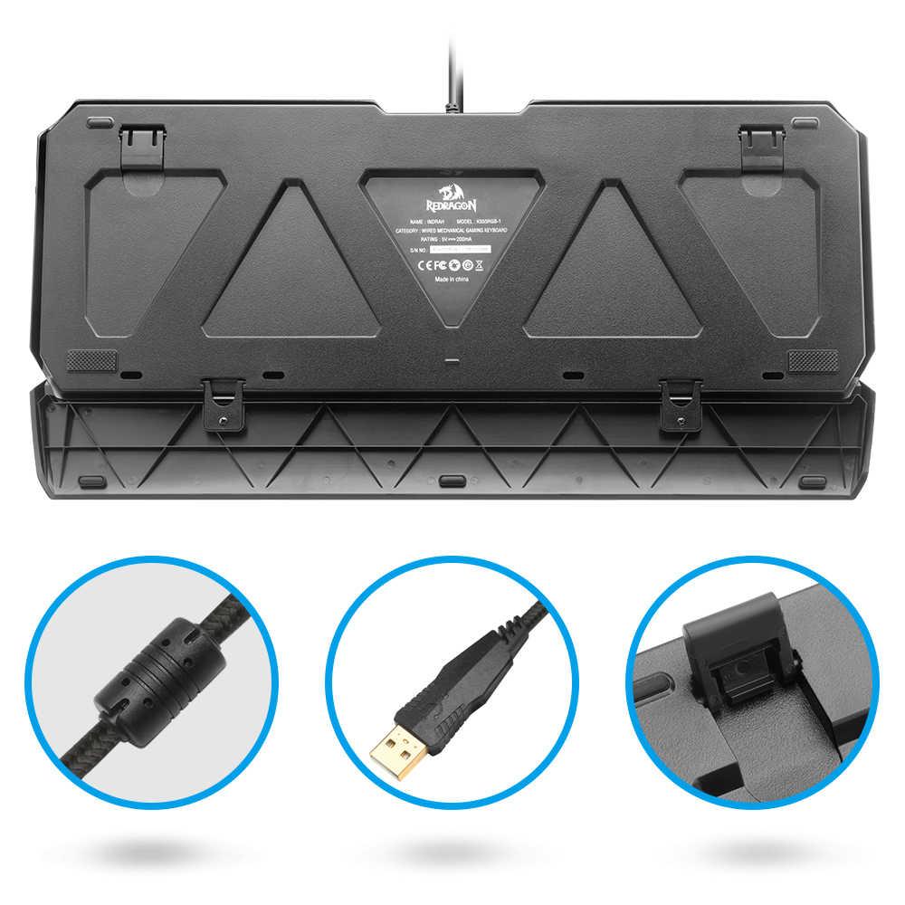 لوحة مفاتيح ألعاب ميكانيكية Redragon K555 RGB من الألمونيوم مزودة بمنفذ USB ومفتاح LED مزود بإضاءة خلفية 104 مفتاح ألعاب كمبيوتر سلكية مضادة للظلال