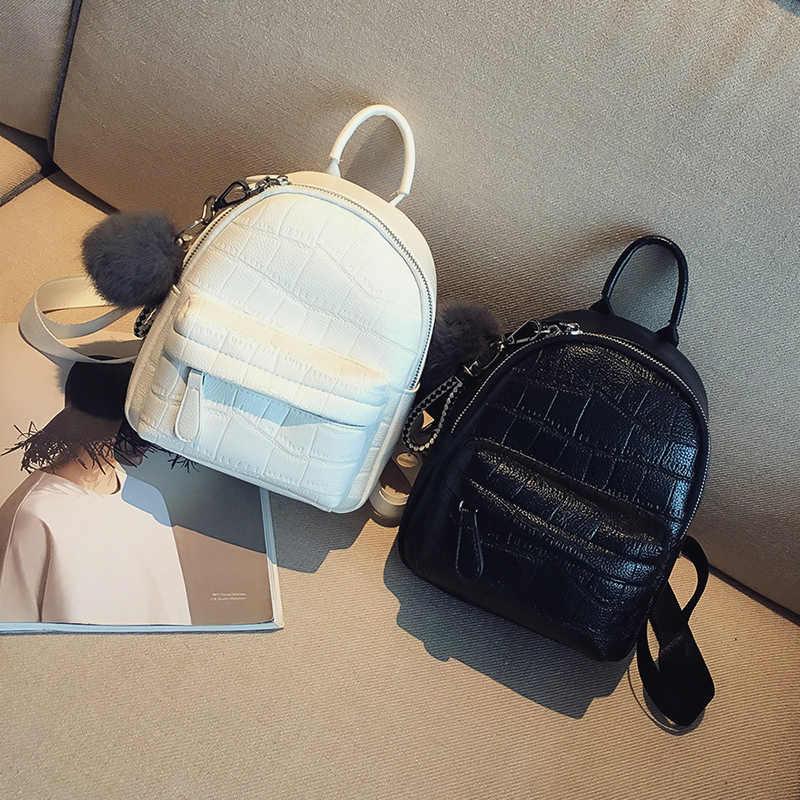 LEFTSIDE мини рюкзак для женщин с каменным узором кожаные рюкзаки для девочек небольшой рюкзак для женщин повседневный рюкзак с Hairball 2018