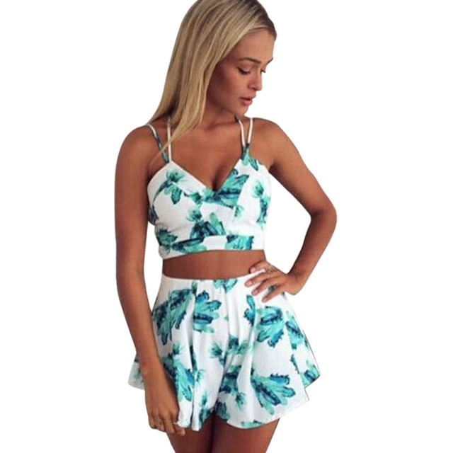 7ccf9b3841 Women Summer Sexy Halter Bodycon Print Suit Slim Crop Top and Shorts  Conjunto Feminino Two Piece Set Clubwear V Top and Pants H