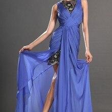 Новое поступление славный рукавов голубой шифон черный Кружево 2 цветов вечернее платье
