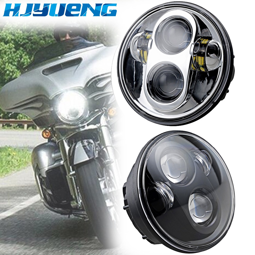 Chrome 5.75 Harley Moto H4 Led Headlight 5 3/4 LED Projection Daymaker II Headlight For Harley Davidson Sportster Motorcycle