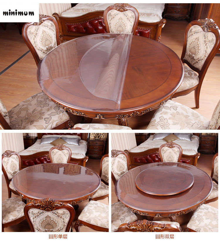 round tablecloth pvc waterproof oil proof transparent. Black Bedroom Furniture Sets. Home Design Ideas