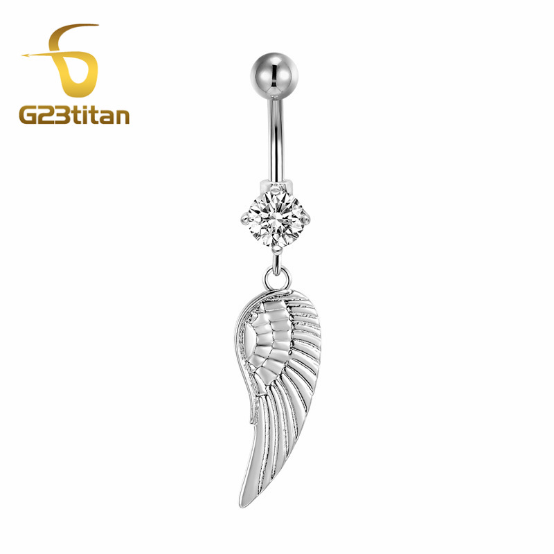 G23titan Summer Bikini Beach Sex Naval Pierścionki G23 Titanium Barbell Piercing Ombligo Feather Pendant Belly Jewelry