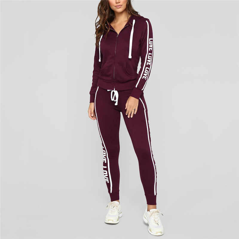 8f50db95777 2019 Fashion tracksuit women Casual Stripe Zipper Long Sleeve Pullove plus  size Tops+Long Pants