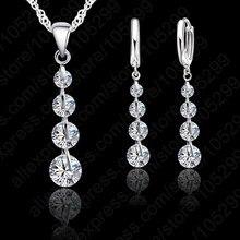 Купить с кэшбэком Romantic 925 Sterling Silver Link Chain Crystal  Pendant Jewelry Set  For Women Choker Wedding  Jewelry Set
