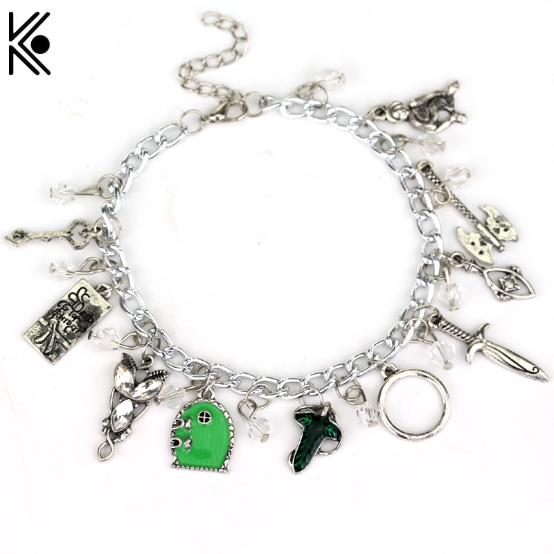 Elven Leaf Arwen Evenstar Frodo Feet Axe Sword Bow Wizard Fairy Door Metal Bracelet & Bangles For Women Crystal beads bracelet