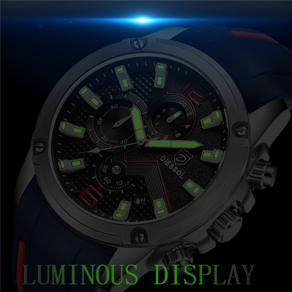 DIESSOL Men's Fashion Sports Quartz Watch Mens Watches Top Brand Luxury Rubber Band Waterproof Business Watch Relogio Masculino 15