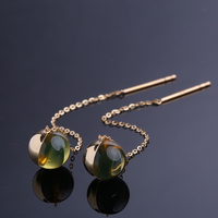 Robira Simple Strip Bar Long Line Chain Drop/Dangle Earrings 18K Rose Gold Natural Blue Amber Fashion Jewelry For Women Earring