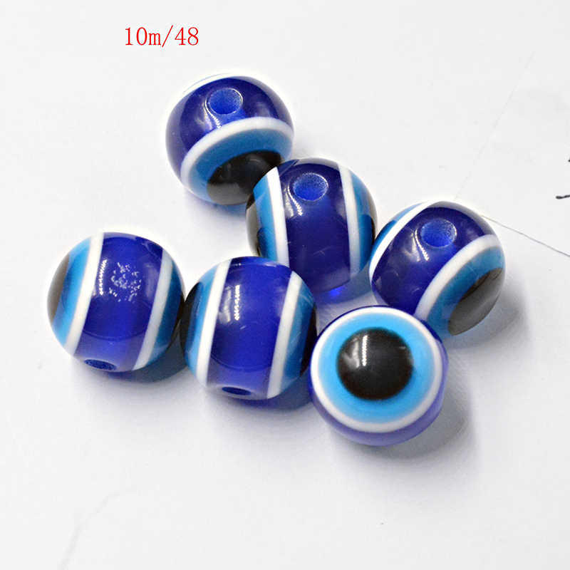 FLTMRH 8pcs 10mm     Box Turkey Medusa Blue eye of evil Nazar Boncugu Beads Round About