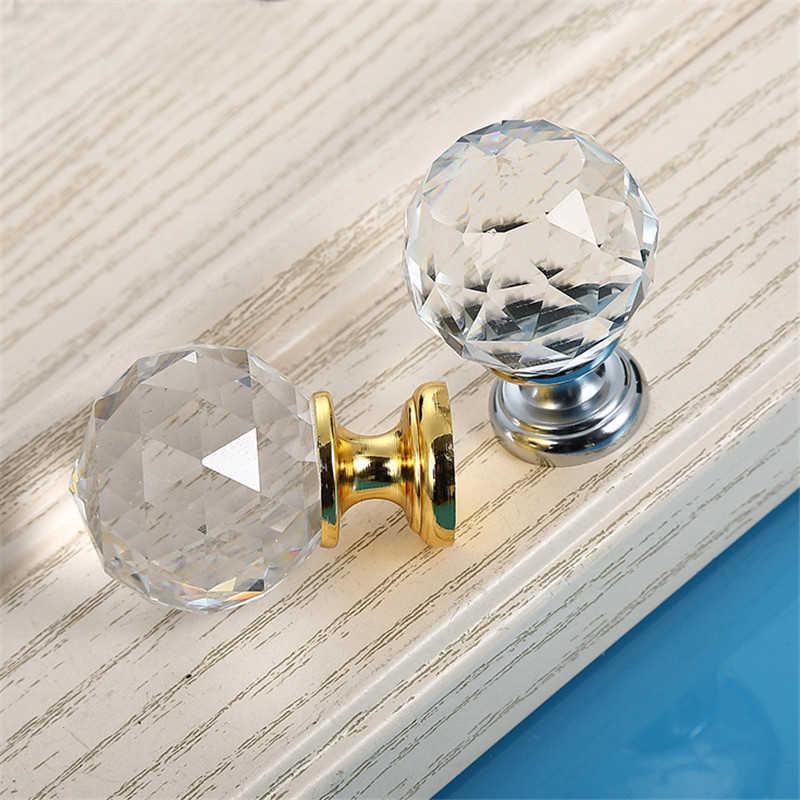 8 x Perillas Transparente Cristal de color dorado para muebles gabinete cajon