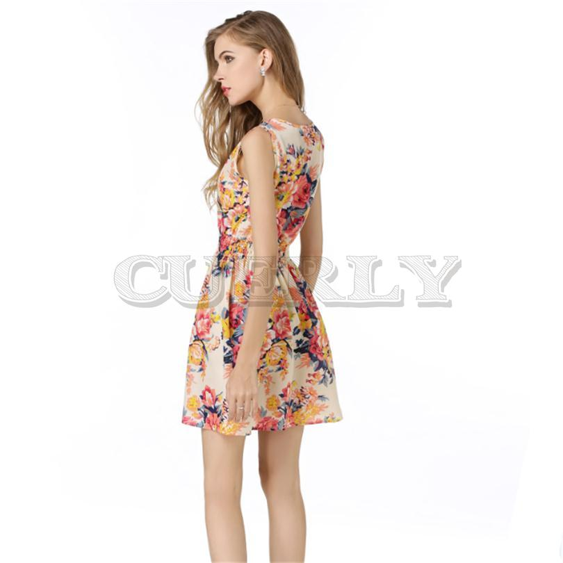 Cuerly Women Clothes 2019 Sexy Floral Short Beach Dresses Casual Summer Chiffon Dress Elegant Vestido Sundress Sleeveless L4 in Dresses from Women 39 s Clothing
