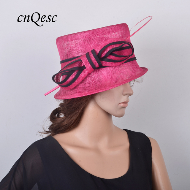 NEW small brim Fuchsia black Elegant Sinamay hat church dress Hat w ostrich  feather for wedding 965c6c8fc0ca