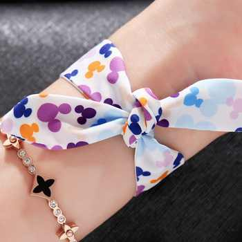 Disney Watch With Two Ribbon Watchband Free Match Colorful For All Seasons Girl Ultrathin Round Waterproof Mickey Quartz Watches