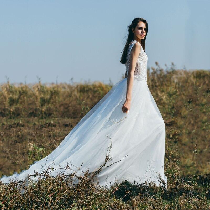 Longueur de plancher blanc Long Train nuptiale herbe de mariage Photograpy Tulle jupe de haute qualité maille suisse Tulle Saia Faldas robes