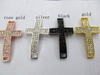 top quality sideway cross metal spacer silver gold balck mixed crystal rhinestone jewelry beads focal ring 35x55mm 12pcs