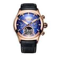 Resif kaplan/RT lüks erkek saatler gül altın otomatik saatler Tourbillon kahverengi deri kayış mavi kadranlı saatler RGA7503