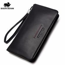 BISON DENIM äkta läder koppling plånbok manlig lång handväska lyx märke läder dragkedja plånbok män affär mynt plånbok N8069