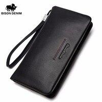 BISON DENIM Genuine Leather Clutch Wallet Male Long Purse Luxury Brand Leather Zipper Wallet Men Business