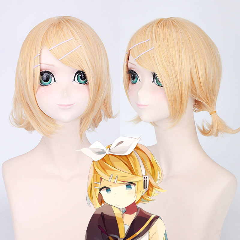 <font><b>VOCALOID</b></font> <font><b>Kagamine</b></font> <font><b>Rin</b></font> <font><b>Kagamine</b></font> Len Halloween wig Cosplay Complete Costumes hair for women party wig for women girl image