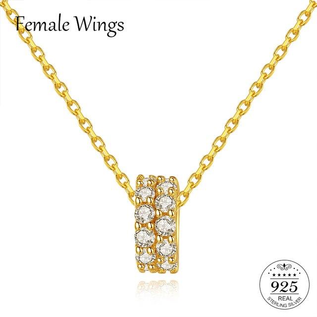 หญิงปีกเงิน 925 คู่แถว Zirconium จี้สร้อยคอ 18 K จริงทอง Clavicle Chain เงิน 925 FN037