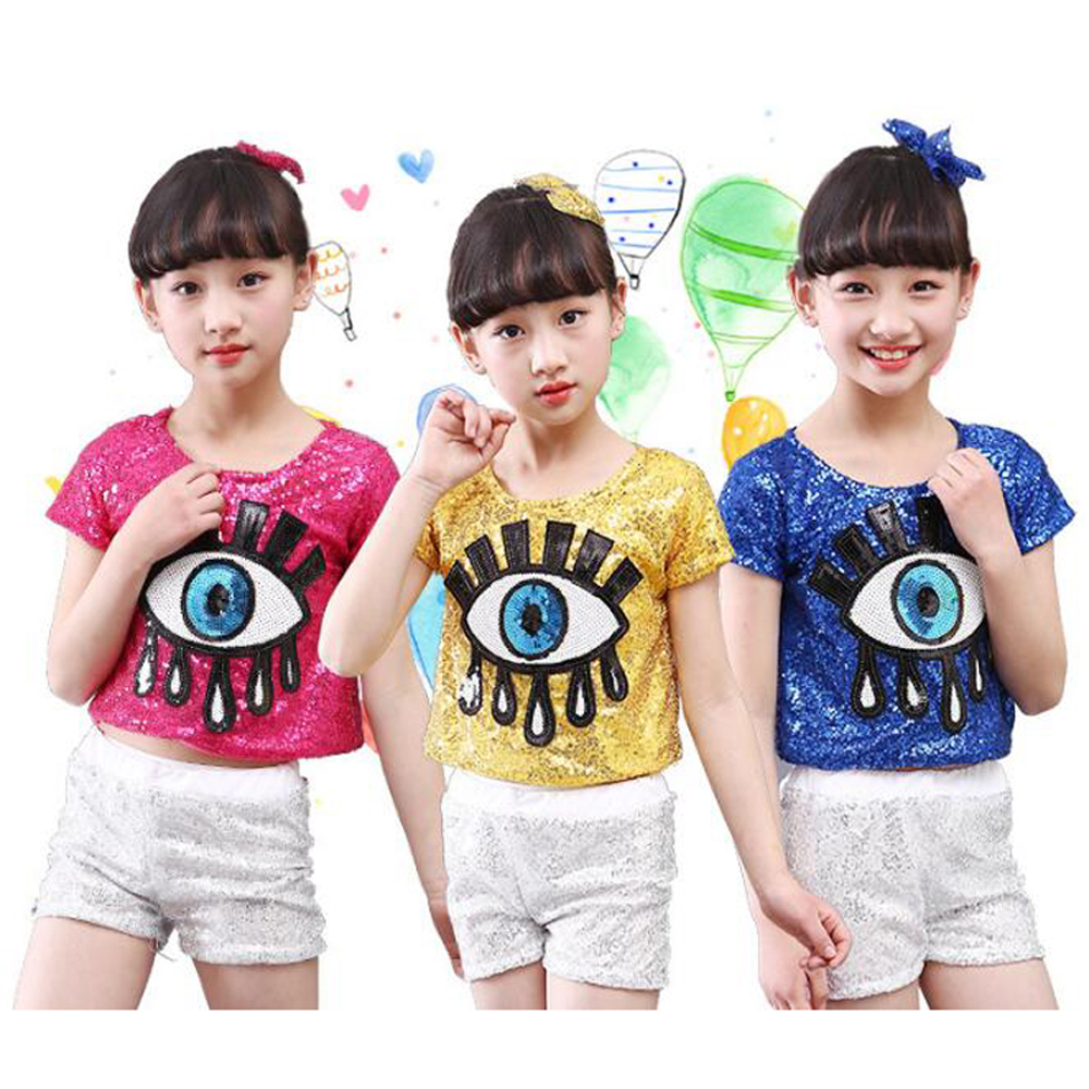 Bazzery Girl's Sequin Eye Tears Image Ballroom Suits Children Stage Perfoming Jazz Dance Wear Competition Dancing Costume