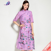 2017 High Quality 100 Silk Runway Dress Women S Spring Brand Designer White Print Button Chinese