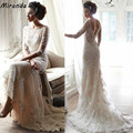 Vintage Wedding Dresses Ivory Half Sleeves Lace Appliques Sheer Backless Romantic Bridal Gowns Corset Scoop Dress For Bride
