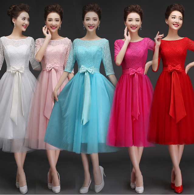 robe de soiree pastel ice blue fuschia mid length bridesmaid dresses ...