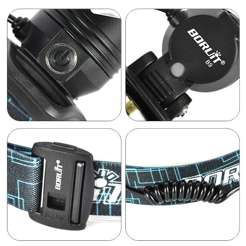 Boruit led light Rechargeable headlight High power head lamp Flashlight Headlamp 1000 Lumens Headlamps power by 3x AAA batteries (7)