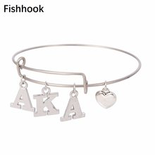 fishhook AKA Sorority Alpha Kappa Alpha Letter Charms Love Stainless Steel Bangle Jewelry Wire Bracelet Silver Tone As Gifts(China)
