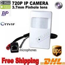 UPS DHL Free shipping 50pcs 720P Pir Motion Detector mini ip Camera ONVIF Pir Ip Camera Covert security camera microphone