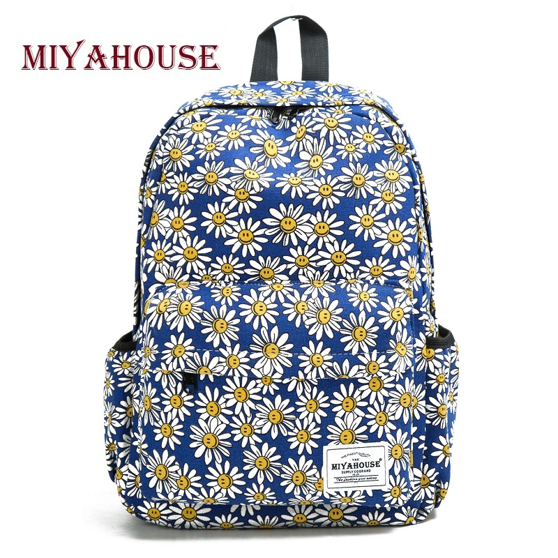 Miyahouse Preppy Style Female Backpacks Sunflower Print Travel Rucksack Women Canvas Bookbags For Girls School Backpacks ciker new preppy style 4pcs set women printing canvas backpacks high quality school bags mochila rucksack fashion travel bags