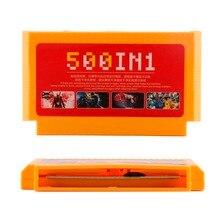 500 in 1 Carta del Gioco Da Tasca Classico 8 Bit Console Grande Giallo Super Cartuccia di Gioco Mega Carrello Collezione per 60 spilli Giocatore Giochi