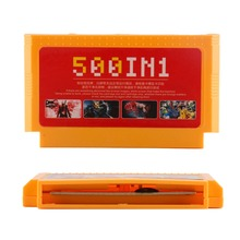 500 in 1 Pocket Game Card Classic 8 Bit Console Big Yellow Super Game Cartridge Mega Cart Collection for 60 Pins Games Player