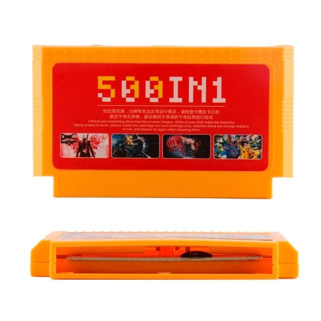 500 trong 1 Túi Thẻ Trò Chơi Cổ Điển 8 Bit Tay Cầm Lớn Màu Vàng Siêu Game Hộp Mực Mega Xe Đẩy Bộ Sưu Tập 60 chân Người Chơi Games