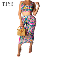 TIYE Elegant Printed Two Pieces Set Crop Top and Bodycon Bandage Dress Sexy Sleeveless Hollow Out Retro Women Summer Dresses