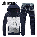 Jolintsai Causal Sportswear Men 2017 Patchwork Spring Hoody Sweatshirt Men Hoodies Men Suit Sportswear Set Plus Size M-5XL