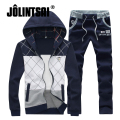 Jolintsai Causal Sportwear Men 2017 Patchwork Spring Hoody Sweatshirt Men Hoodies Men Suit Sportswear Set Plus Size M-5XL