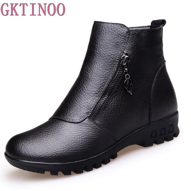 Women Boots 2018 Winter Warm Snow Boots Genuine Leather Fashion Best