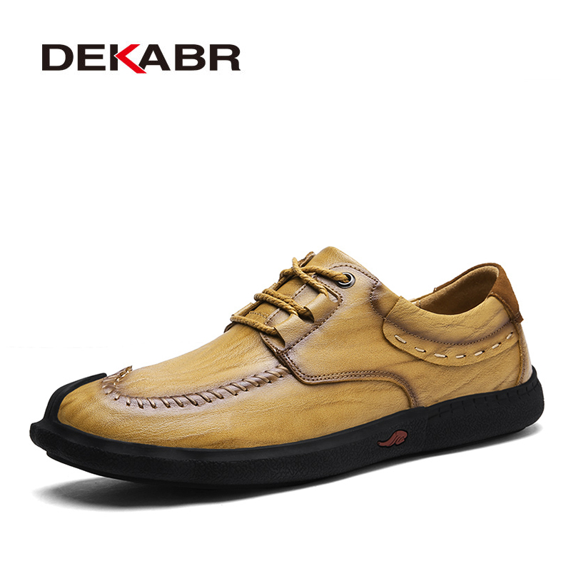 DEKABR Classic Style Men Shoes Comfortable Lace-up Men Casual Shoes Fashion Breathable Split Leather Flats Wear-resistant Shoes denim shoes 2016 new arrival men s fashion breathable casual comfortable lace up shoes spring summer wear men seankers xmf265