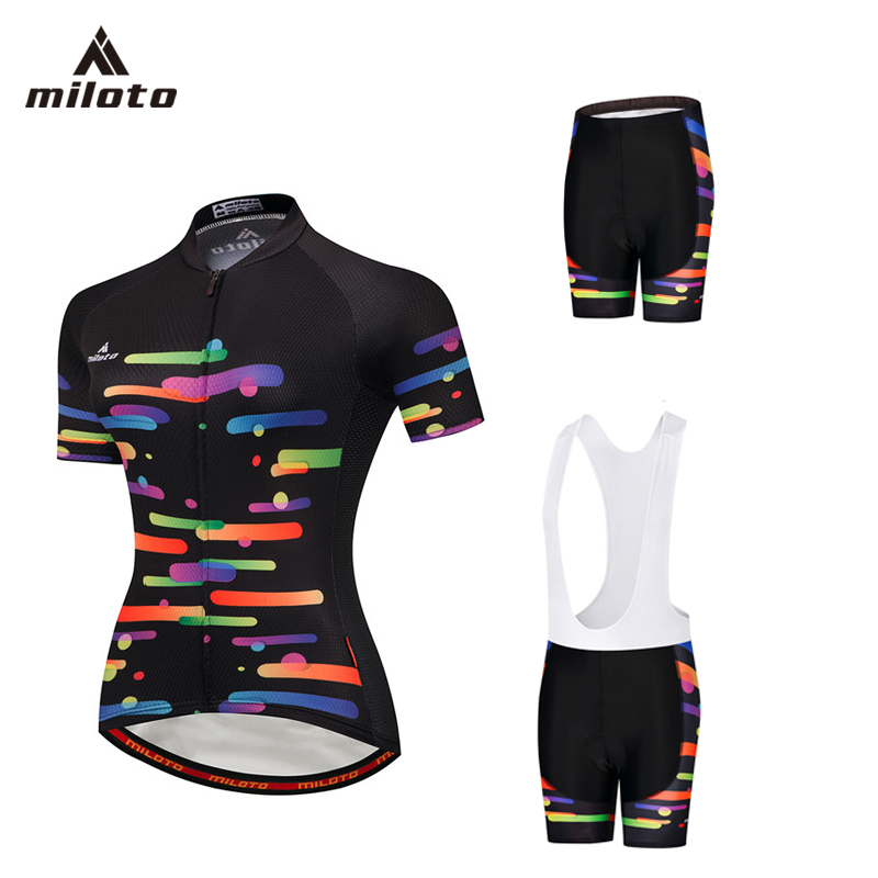 MILOTO Short Sleeve Cycling Jersey Set Women Gel Bib Shorts + Shirt Bicycle Clothes Ropa Ciclismo Breathable MTB Bike Clothing ...