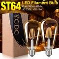 YCDC Ouro Do Vintage Edison LEVOU Filamento da Lâmpada Dimmable Lâmpadas ST64 E27 220 V 16 W Edison Retro lâmpada Led Substituir Luz incandescente