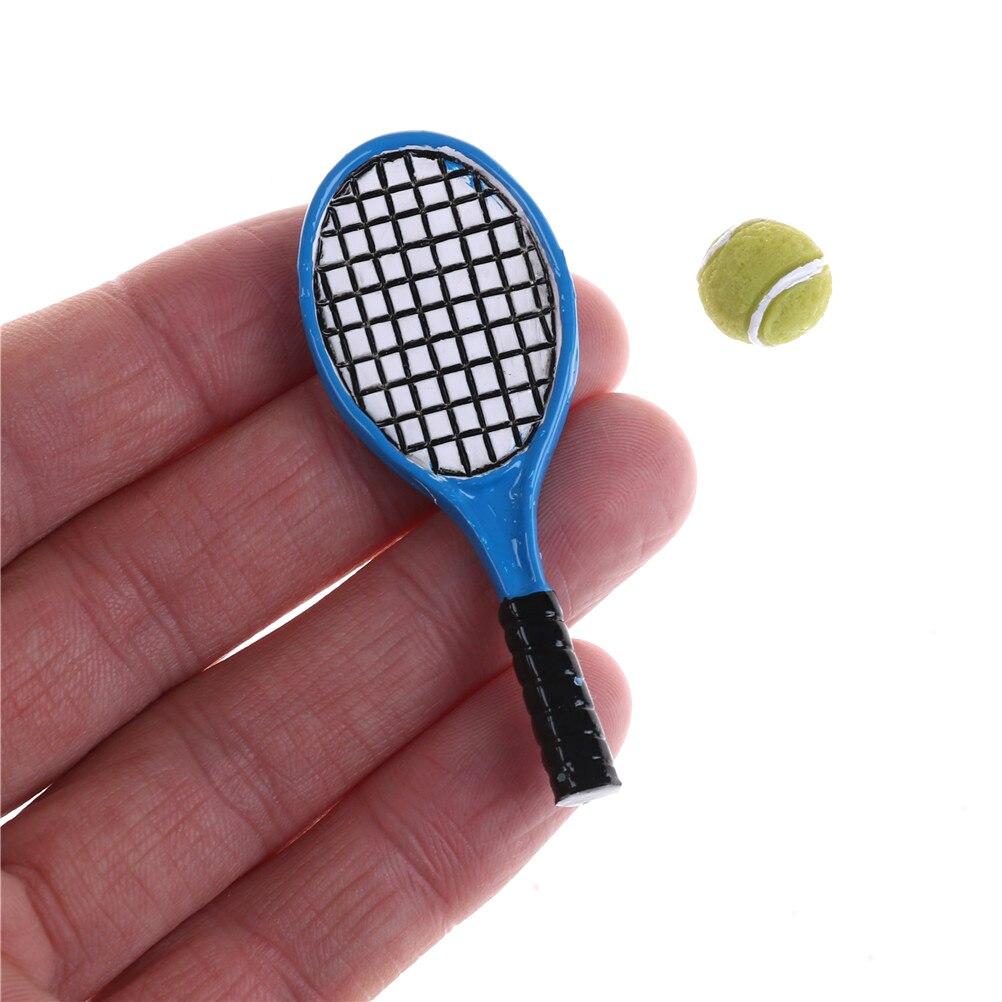 2 Sets 1:12 Miniature Dollhouse Accessories Children Mini Tennis Racket And Ball