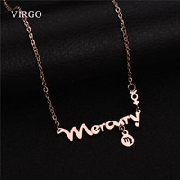 New Romantic Stainless Steel Necklace VIRGO Zodiac Signs Rose Gold Plated Choker Name Necklace For Women