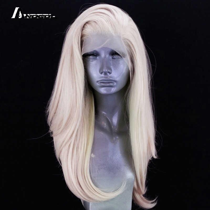 Anogol Platinum blond długie naturalne fale wolna część wysokiej temperatury włókna syntetyczna koronka przodu włosów peruki kobiet