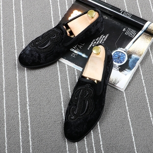 Image 3 - CuddlyIIPanda marka erkekler kadife loaferlar erkekler nakış not parti elbise sahne ayakkabı sigara terlik moda erkek Flats Sneakers