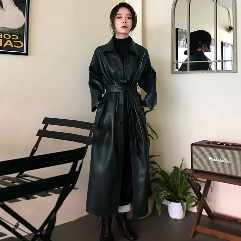 WSYORE Cool Leather Long Jacket 19 New Spring Women Loose Belt PU Leather Windbreaker Trench Coat Slim Autumn Jacket NS939 3